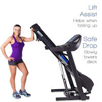 Xterra Fitness TR300 Treadmill Lift Assist / Safe Drop folding deck, with 4 transport wheels, image