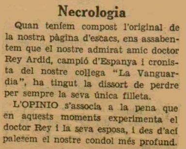 Recorte de L'Opinió, 5/9/1933