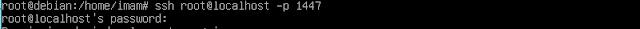 Test login ssh di komputer/pc server