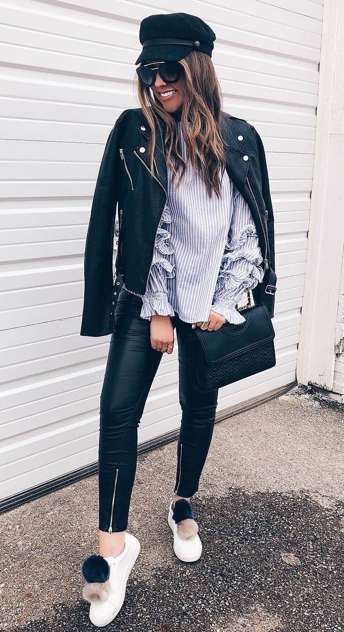how to wear a pair of leather skinnies : hat + striped top + moto jacket + bag + sneakers