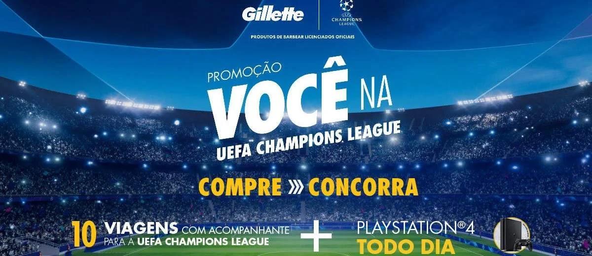 Promoção Gillette 10 Viagens UEFA 2020 e Vídeo Game PS4 Todo Dia - Champions League