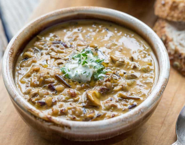 Wild Rice & Mushroom Soup #mushroom #soup #dinner #yummy #lunch