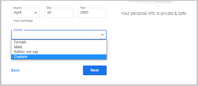 Select your gender in Gmail account