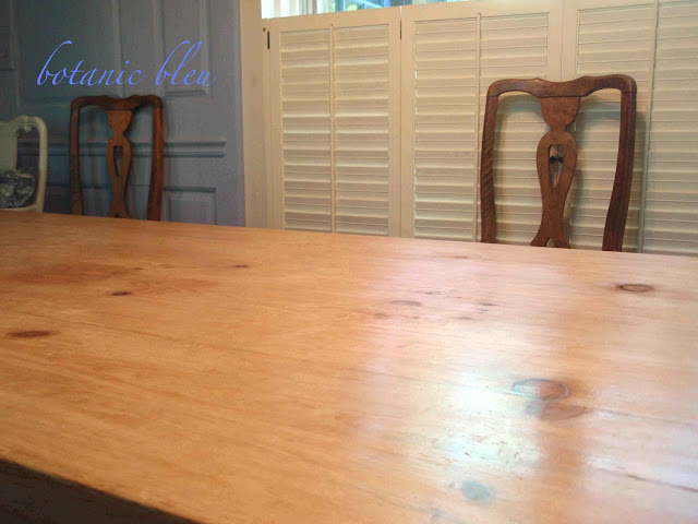 Patina on refinished pine table made from old reclaimed English pine boards