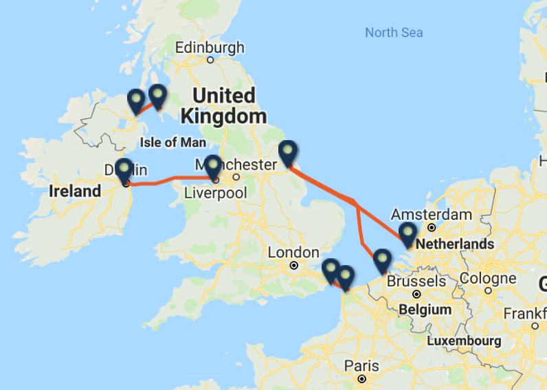 P&O FERRIES routes and ports