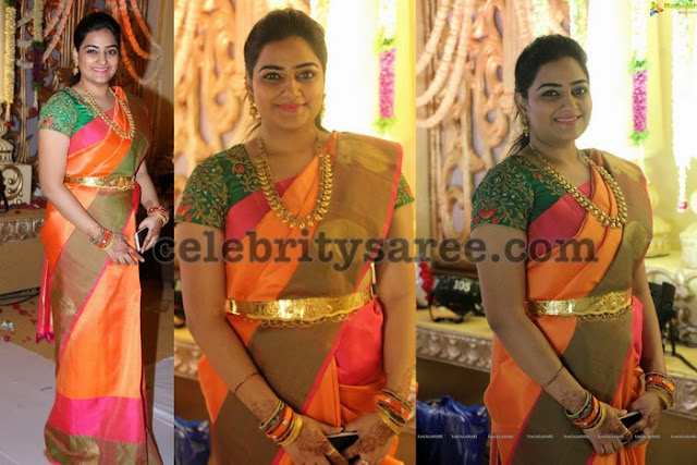 Tri Color Saree Bottle Green Blouse
