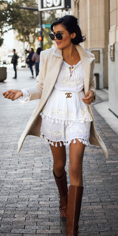 27 Adorable Fall Date Night Outfits Guaranteed to Impress. 27 Stylish Fall Outfits to Wear On Your Next Date, from Casual to Fancy. Fall Fashion via higiggle.com | boho white mini dress | #falloutfits #dateoutfits #boho #minidress