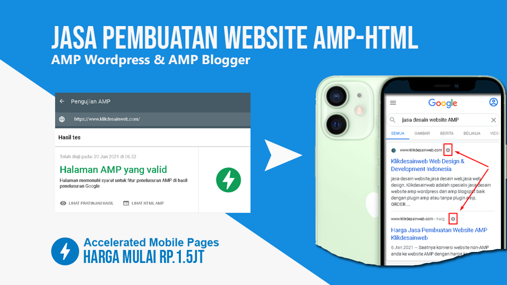 harga jasa pembuatan website amp-html, website google amp di Klikdesainweb