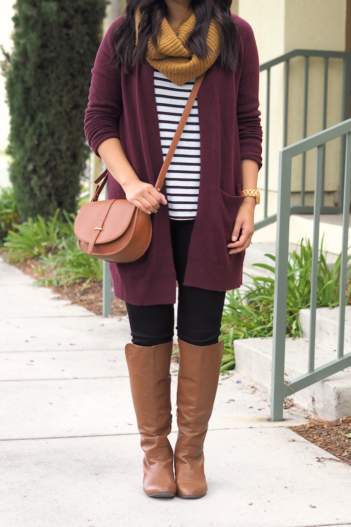 putting me together 3 ways to wear a maroon cardigan