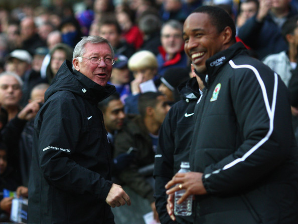Manchester United Manager Sir Alex Ferguson shares a joke with Blackburn Rovers Manager Paul Ince (R) prior to the start of the Barclays Premier League match between Blackburn Rovers and Manchester United at Ewood Park on October 4, 2008 in Blackburn, England