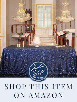 Navy Blue Sparkle and Bling Glam Table Cloth
