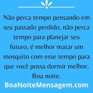 mensagens de boa noite engraçada- Não perca tempo pensando em seu passado perdido, não perca tempo para planejar seu futuro, é melhor matar um mosquito com esse tempo para que você possa dormir melhor. Boa noite.
