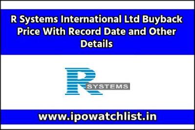 R Systems International Ltd Buyback Price
