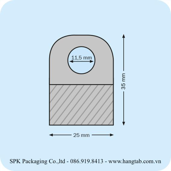 Thẻ treo bằng nhựa dán băng keo 2 mặt 25 x 35 mm