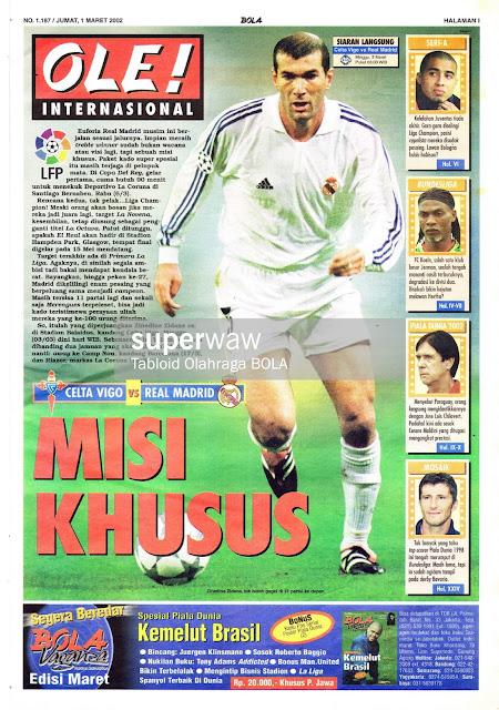 ZINEDINE ZIDANE REAL MADRID 2002 MAGAZINE COVER