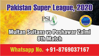 Today Match Prediction Multan Sultans vs Peshawar Zalmi Pakistan Super League 8th T20 100% Sure