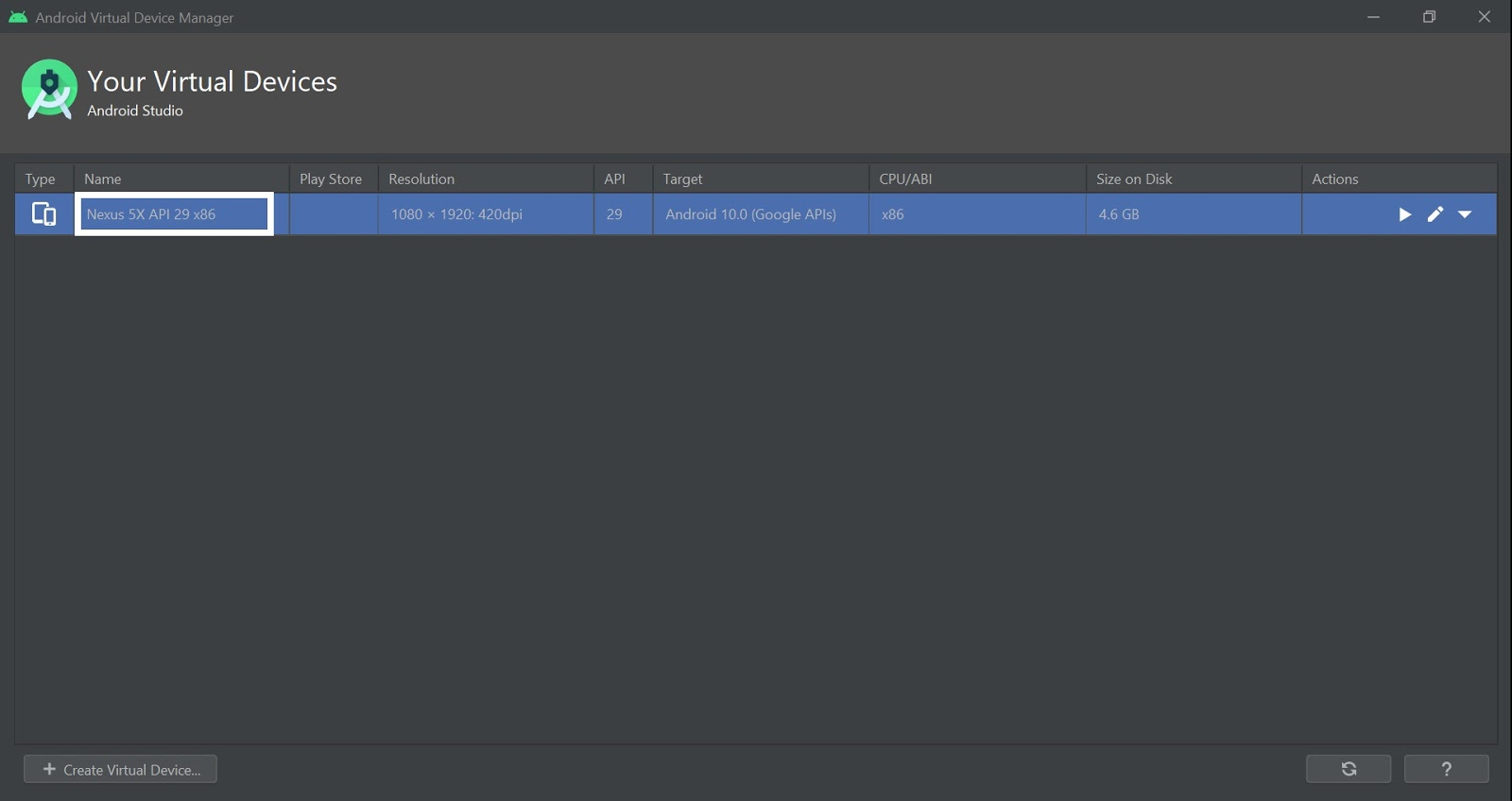 Geting AVD Emulator Name of Android Studio