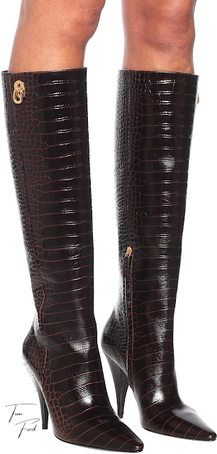 Tom Ford chocolate colored croc-effect leather knee-high boots #brilliantluxury
