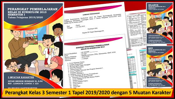 Perangkat Kelas 3 Semester 1 Tapel 2019/2020 dengan 5 Muatan Karakter