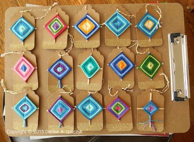 Gods Eye Gift Tag Ornaments before embellishment