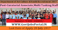Department of Art Culture and Youth Recruitment 2017– 25 Curatorial Associate, Multi Tasking Staff