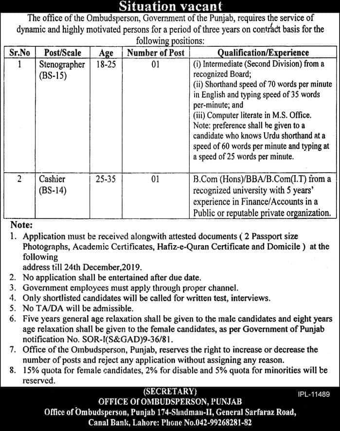 Jobs in Office of the Ombudsperson Govt of Punjab 2019