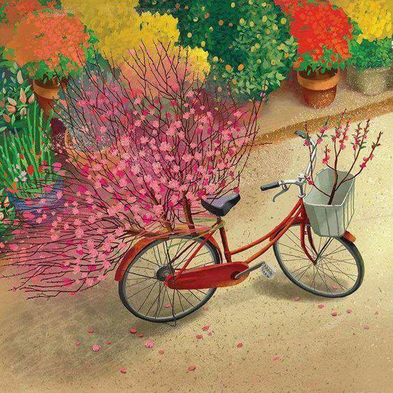 tranh vẽ hoa đào ngày tết