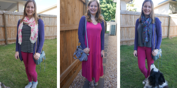 3 pink and purple outfit ideas for colder weather with purple cocoon cardigan awayfromblue