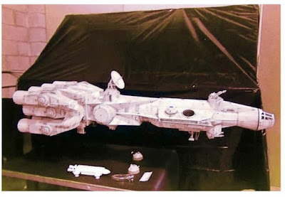 Early Millenium  Falcon model next to Eage transporter model.