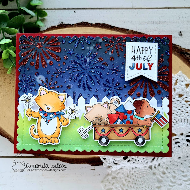 4th of July card by Amanda Wilcox | Newton's 4th of July Stamp Set, Fireworks Stencil, Fence Die Set, Frames & Flags Die Set and Land Borders Die Set by Newton's Nook Designs #newtonsnook