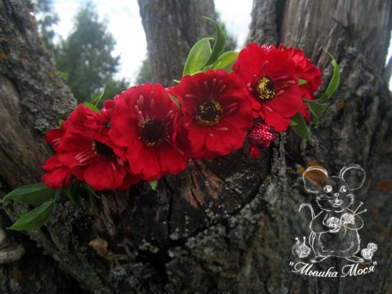 красный венок для фотосессии, веночек из цветов ручной работы, венок из анемона