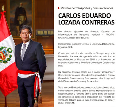 Carlos Lozada, ministro Transportes y Comunicaciones