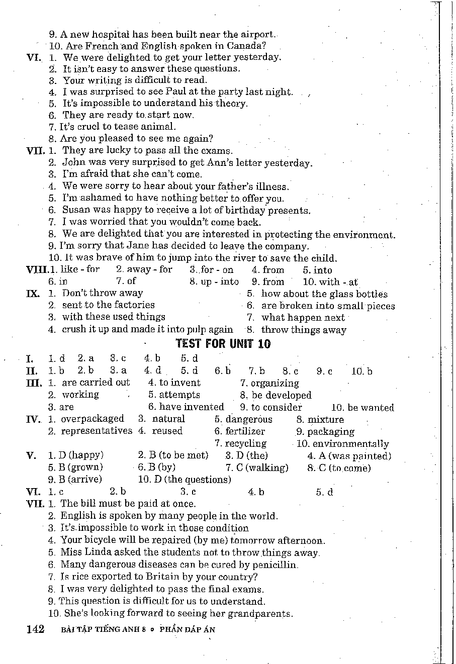 Đáp án - Bài Tập Mai Lan Hương Tiếng Anh Lớp 8 - Sách Lớp 8