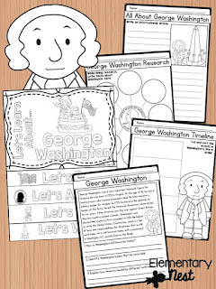 George Washington Biography- February Activities and FREEBIES- activities for primary students- February reading, math, writing, social studies and more! Valentine's Day, Presidents Day, Black History Month, Dental Health Month