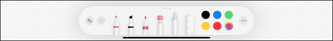 أدوات القلم الرصاص في تطبيق Notes