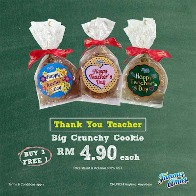 Famous Amos Malaysia Big Crunchy Cookie Buy 3 Free 1 Discount Promo