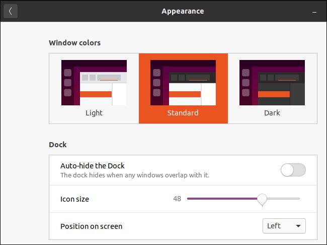 نافذة مظهر Ubuntu مع السمة القياسية المحددة.
