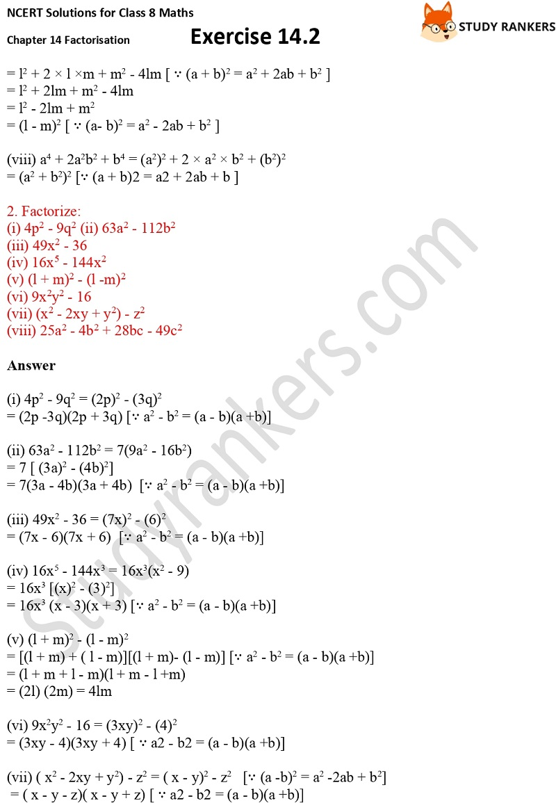 NCERT Solutions for Class 8 Maths Ch 14 Factorization Exercise 14.2 2