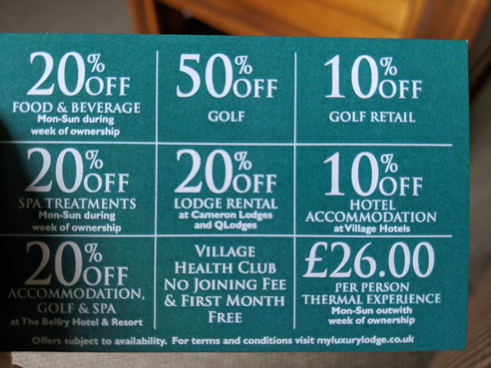 A Short Break at Cameron Lodges, Loch Lomond - lodge 116 discount card