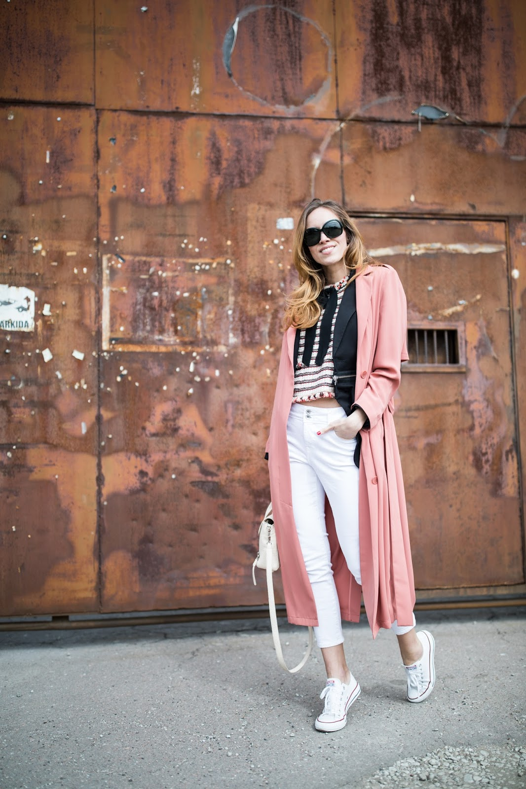 pink duster coat outfit
