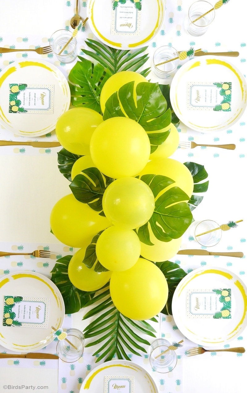 How To DIY a Balloon Garland - an easy craft tutorial project to make to help decorate parties, birthdays, weddings, photo-booths or any celebration! by BirdsParty.com @birdsparty #balloongarland #diyballoongarland #balloongarlandDIY #balloondecorations #weddingdecor #birthdaydecorations #balloonarch