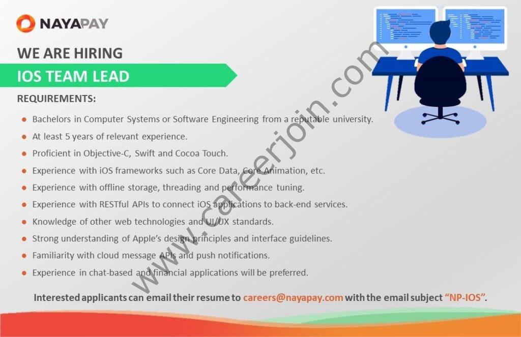 NayaPay Jobs IOS Team Lead