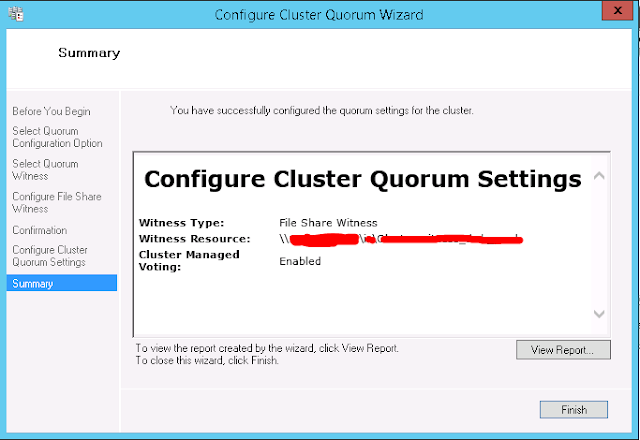 Quorum Configuration - Summary Wizard