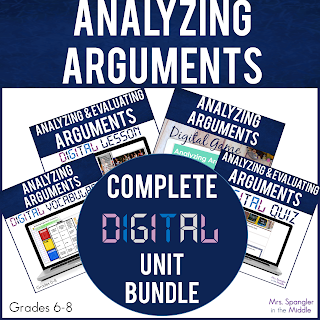 Digital resources to analyze argumentative text with middle school students.  This includes vocabulary, notes, practice and an assessment!