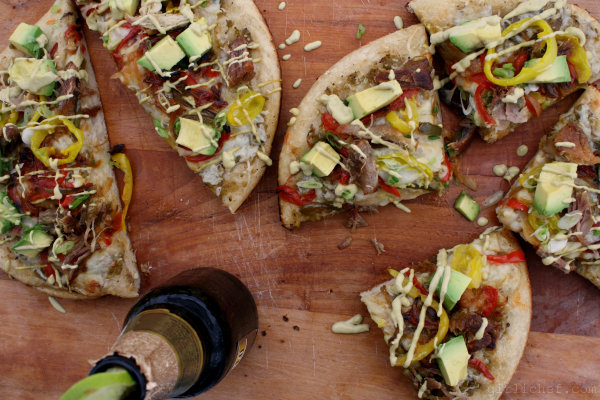 Carnitas Pizza w/ Chipotle-Avocado Crema