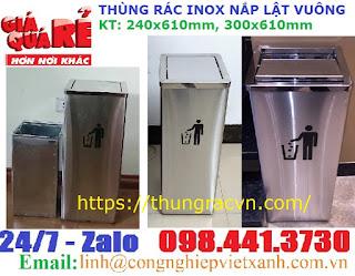 thùng rác inox lật vuông