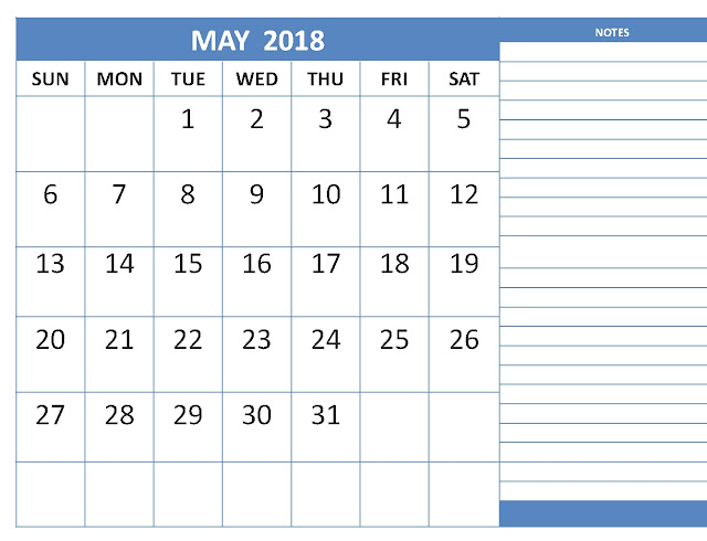 May 2018 Monthly Calendar Printable Templates
