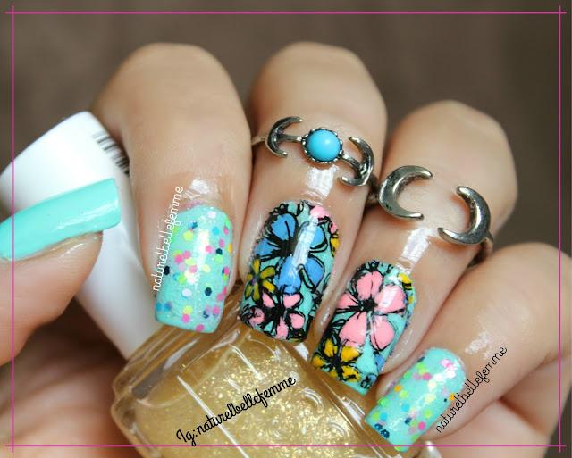 Floral nail art reverse stamping