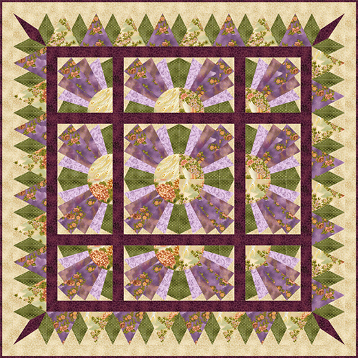 "Fan Dance Quilt Free Pattern Designed with RJR Fabrics ""Phoenix"" collection"