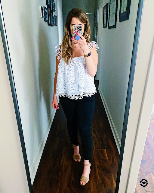 White Boho Tank Top Black Jeans Block Heels Outfit